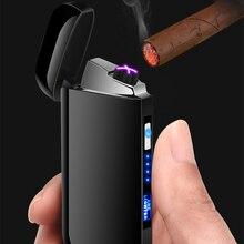 USB Plasma Thunder Зажигалка двойная дуговая сигара перезаряжаемая Электронная зажигалка сенсорная ветрозащитная трубка Зажигалка дисплей питания