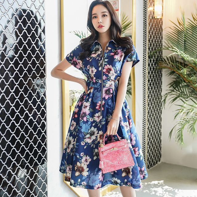 cc36099432ec4 US $43.99 45% OFF|Dabuwawa Women casual dress 2018 Floral Print Midi Summer  Dress for offical lady loose knee length vestidos-in Dresses from Women's  ...