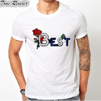 True Reveler Men T Shirts Funny Embroidery Flower T Shirts For Men Rhinestone Letter 100 Combed