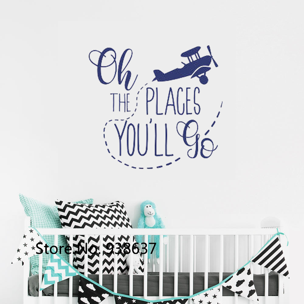 Oh The Places You'll Go Wall Decal Nursery Removable Decal Baby Shower Travel Wall Sticker Quote Nursery Kids Room Decor ZB607 image