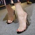 DreamShining PVC Sandalias de Mujer Sexy Transparente Correa de Tobillo zapatos de Tacón Alto 12 CM Sandalias Del Partido de Las Mujeres Calza el Tamaño 35-40
