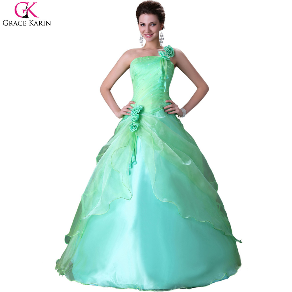 Grace Karin Beautiful Strapless One Shoulder Green Puffy Quinceanera ...