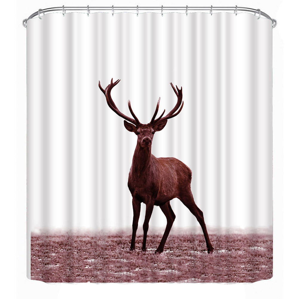 Waterproof 3D Printed Deer Shower Curtains Bathroom Decor With 12 C Hooks  Large Bath Curtain With Anti Rust Metal Buttonhole