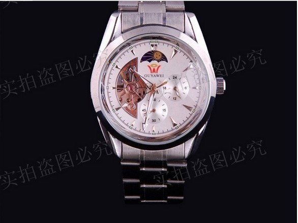 Free shipping luxury Ouyawei sport mechanical watches stem winder men auto self-wind military watches stainless steel bangle