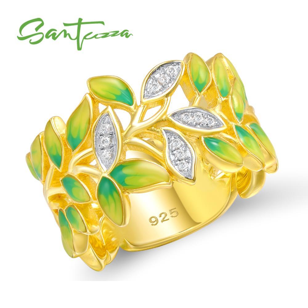 SANTUZZA bague en argent pour les femmes 925 en argent Sterling bagues de mode pour les femmes couleur or zircon cubique anneau bijoux de fête émail