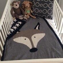 90*130cm Baby Blanket Wrap Soft Cotton Baby Bed Blankets Newborn Animal Rug Rabbit Fox Swaddling Infantil Bedding Kids Gift