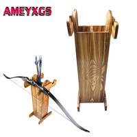 Wooden Archery Bow Stand Arrows Holder Recurve Compound Longbow Crossbow Show Display Arrow Quiver Shooting Hunting Accessories
