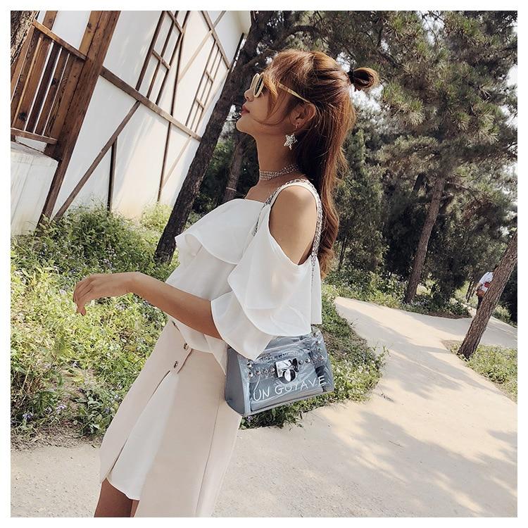 18 Summer Fashion New Handbag High quality PVC Transparent Women bag Sweet Printed Letter Square Phone bag Chain Shoulder bag 5