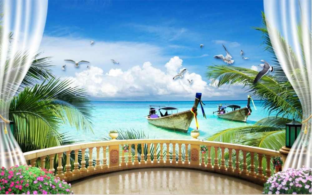 Custom Modern Wallpaper sea view Photo Painting 3D Wallpaper Mural Living room fashion window outside landscape Wallpaper
