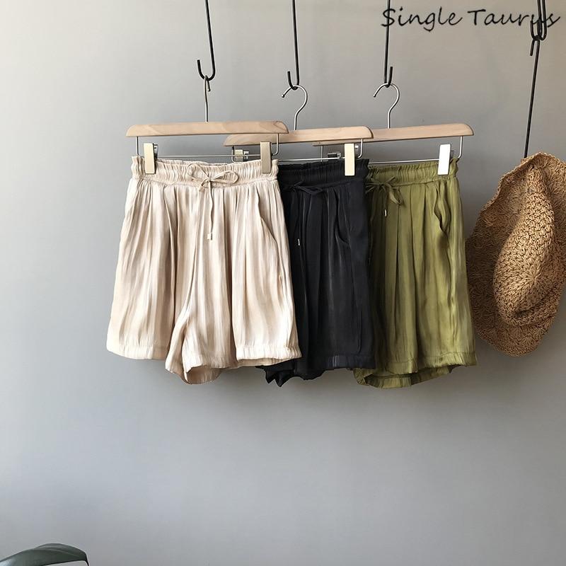 Army Green Draped Chiffon   Shorts   Women High Waist Pleated Retro Summer Wide Leg   Shorts   Causal Loose Harem Beige Black Hotpants
