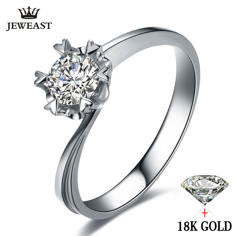 Diamond Ring K Pure White Gold Wedding Snowflake Shape Romantic Simple Engagement
