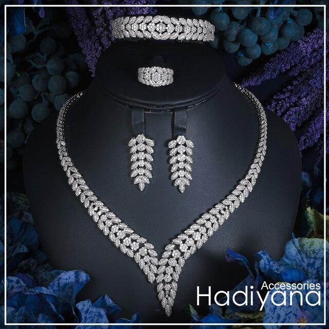 Hadiyana brillante Pave CZ Dubai juegos de joyería 2018 mujeres boda de diseño de la hoja de cobre 4 piezas conjunto de joyas envío de la gota CN300