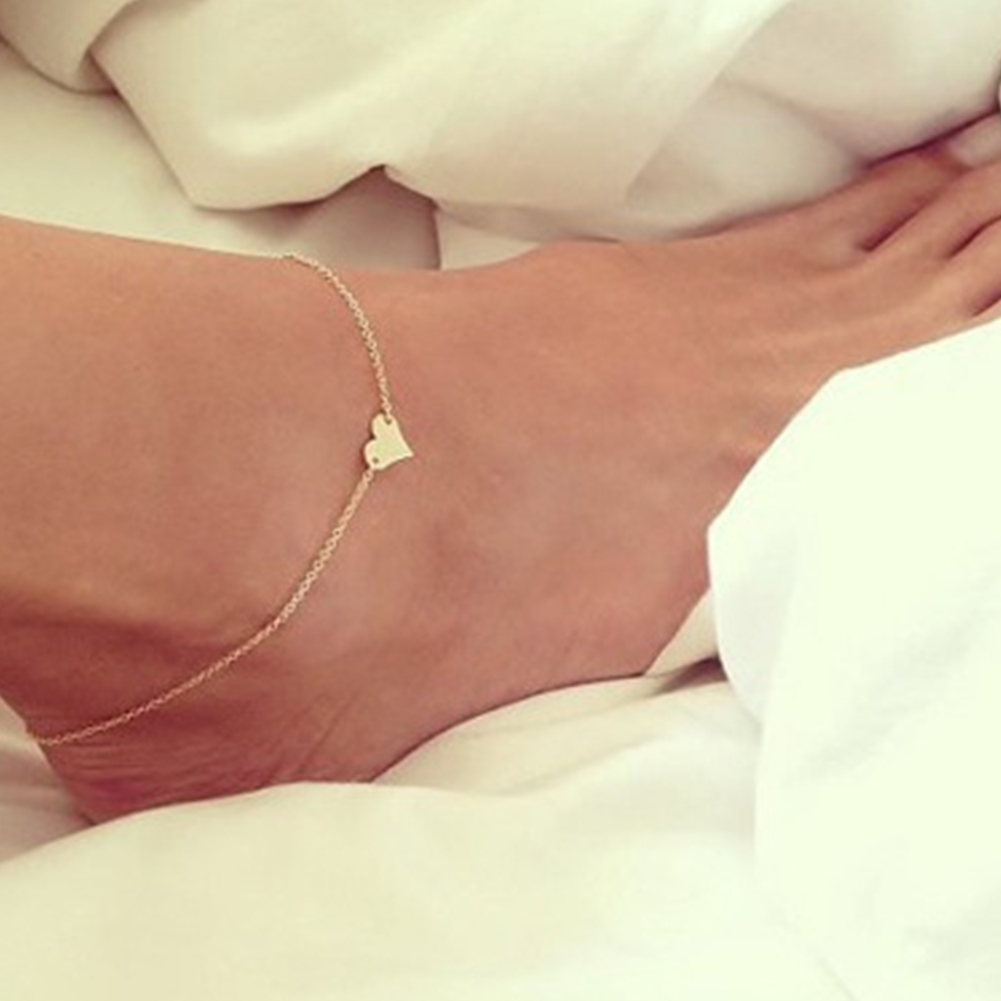 Boho Beach Barefoot Sandals Anklet Chain Girl Silver Gold Heart Foot Bracelets Fashion Jewelry For Women Barefoot Wholesale