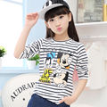 Baby Girls Striped Cartoon Tshirt Cotton Long-Sleeve Casual T-shirts For Kids Children's Tops Tee-Shirt For Teenager School Girl