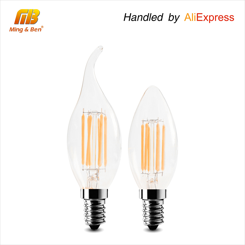 [MingBen] 6pcs/lot LED Filament Bulb C35 Candle Light Lampada E14 2W 4W 6W AC 220V LED Light Bombillas LED Edison COB Bulb 3w e14 home candle bulb led light lamp ac 85 265v 6pcs