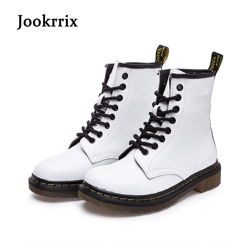 2017 New Spring Fashion Boots Women Shoes For Lady Genuine Leather Boots White Brand Martin Boots