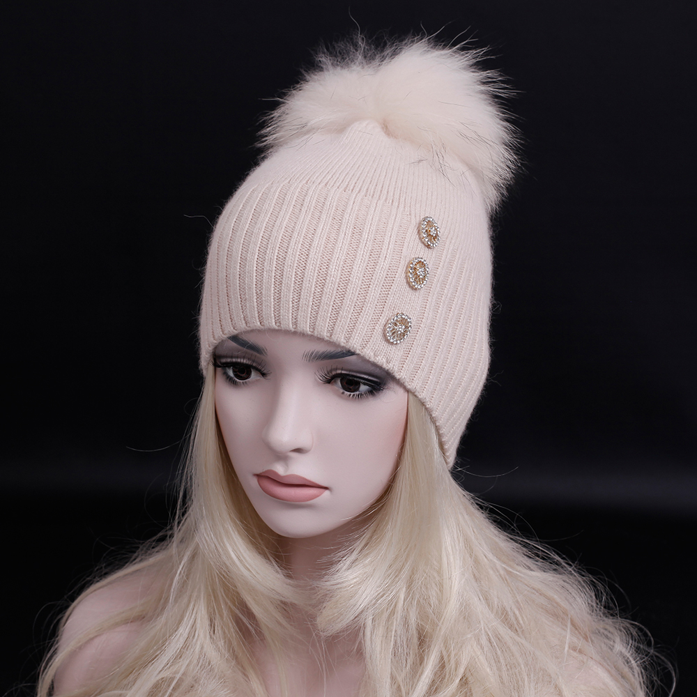 2016 Winter super warm wool Knitted cap with real raccoon fur pompoms Women's cashmere Beanies hat Fashion Lady classic snow hat счастливое детство качалка квадрат