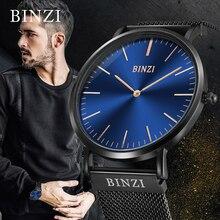 цены BINZI Quartz Watch Men Luxury Brand Men's Wrist Watch Waterproof 2019 Mesh Stainless Steel Relogio Masculino Male Clock Gold New