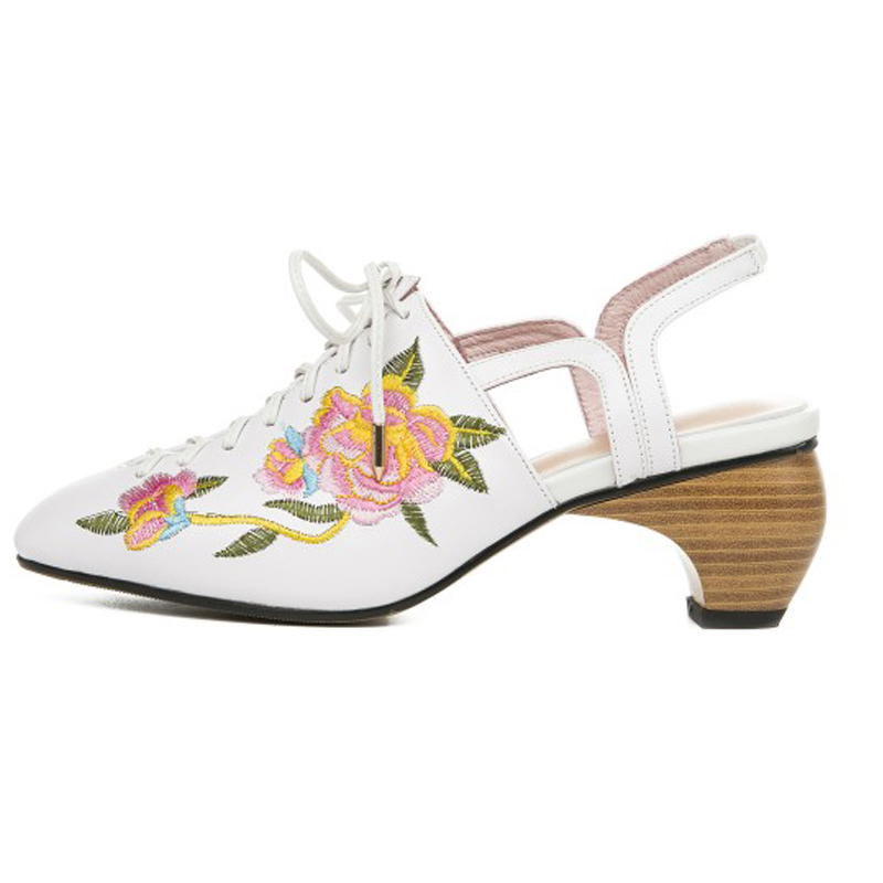 Perixir Elegant Women 39 s Closed Toe Heeled Sandals Luxury Brand Genuine Leather Mid Block Heel Sandals Rome Embroidery Pumps in High Heels from Shoes