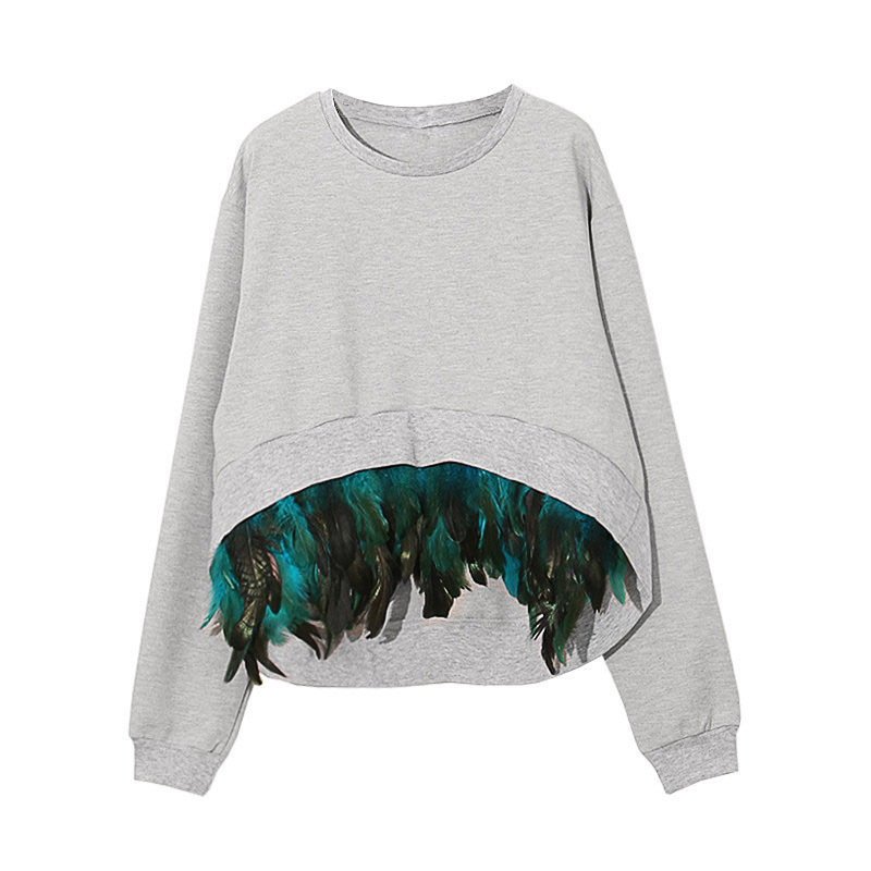 HIGH QUALITY New 2017 Fall Winter Designer Sweatshirt Womens Long Sleeve Feather Embellished Sweatshirt