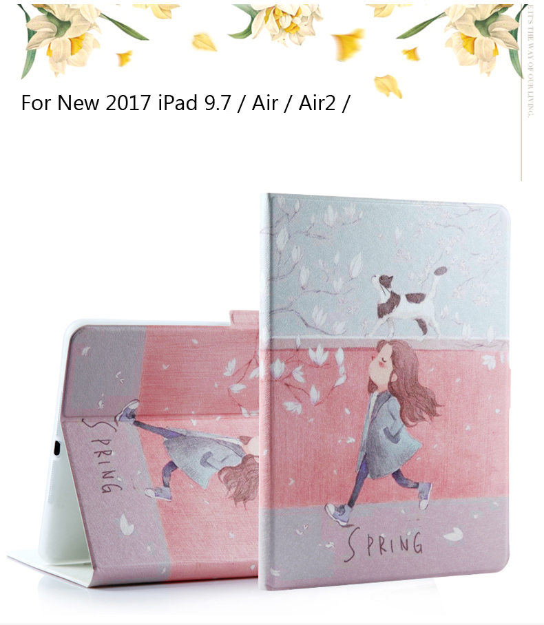 Case For Ipad 9.7 2017 Painted Flip PU Leather For Ipad 5 / 6 Smart Case Cover For Ipad Air / Air2 / Air 2 + Gift