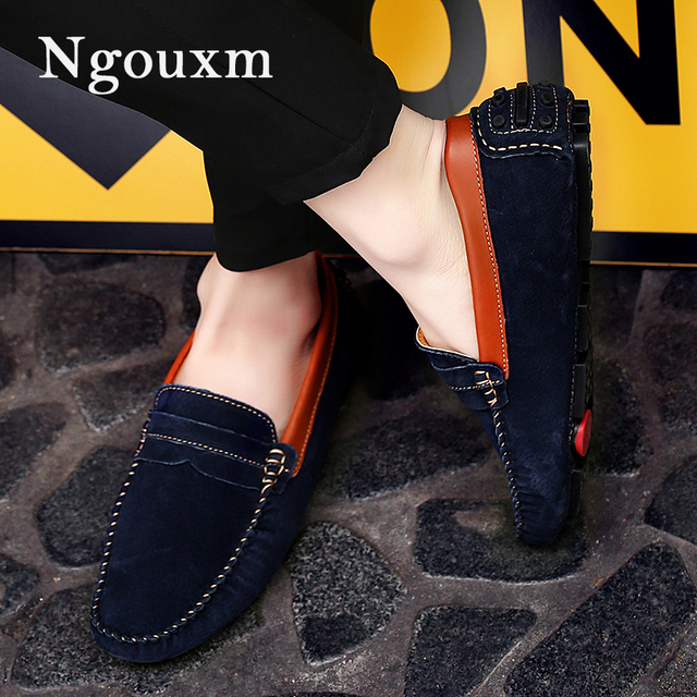 Ngouxm Loafers Men Spring Autumn New Fashion Casual Moccasins Man Slip On Suede  Leather Mens Casual Loafers Men Moccasin Shoes dfb195a46d40