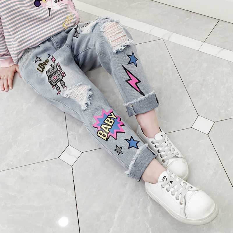 Girls Jeans Children's Denim Pants Cartoon Pencil Pants Fashion Hole Trousers Ripped Jeans Teen Girls Clothes Cotton Pants 2019