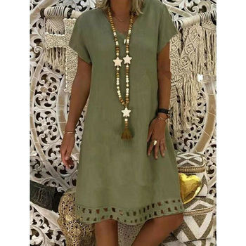 Free Ostrich 2019 Women Summer Style Feminino Vestido T-shirt Cotton Casual Plus Size Ladies Dress Casual Linen Dress Hot Sales 2