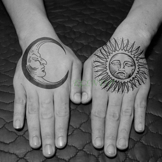 2b1c5c063 Waterproof Temporary Tattoo Sticker Sun Moon Fake Tatto Flash Tatoo leg Arm  hand foot tatouage for