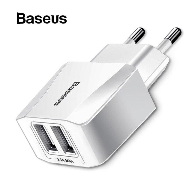 Baseus 5 V 2.1A Dual USB cargador para teléfono de carga rápida cargador de enchufe de la UE adaptador de viaje cargador de pared para iPhone samsung
