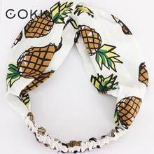 COKK Pineapple Headband Hair Accessories For Women Girls Turban Knot Cross Hair Scarf Hairband Cartoon Fruit Hair Band Headdress(China)