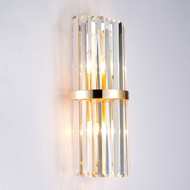 Modern simple creative crystal rod decoration wall lamp hotel luxury villa bedroom bedside designer wall light