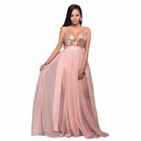 Sexy women Dress 2018 deep V Neck sequined Open Back A Line Long Dresses nightclub Vestido High Split Tulle Prom Gowns