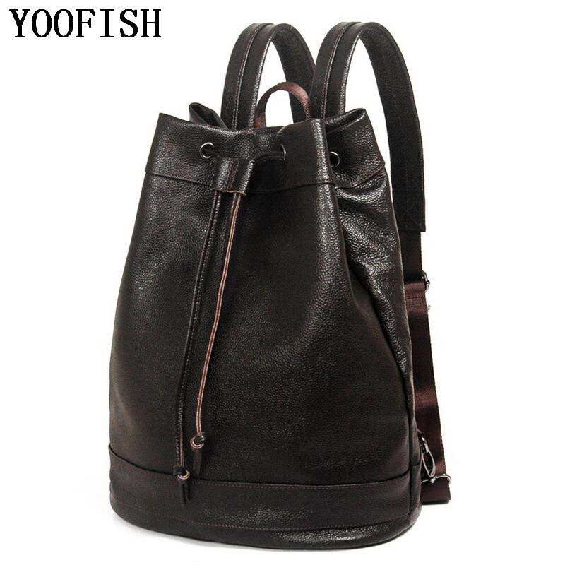 YOOFISH  Men Backpacks High Quality Genuine Cow Leather  Man Schoolbag Large Capacity Male Waterproof Laptop Travel Bag 100% genuine leather men backpack large capacity man travel bags high quality male business bag for man computer laptop bag