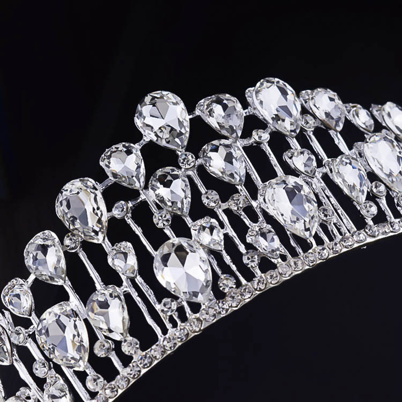 New Trendy Silver Gold Color Baroque Tiaras Luxury Full Crystal Crown For Wedding Prom Hair Accessories Hair Jewelry Headdress