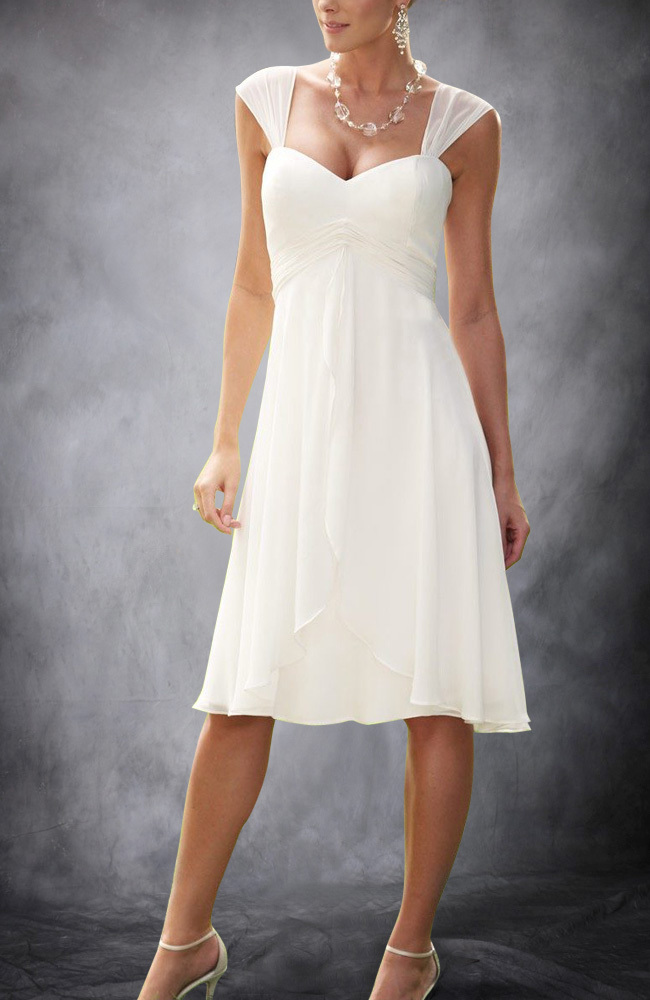casual wedding dresses summer cap sleeves chiffon informal tea length 2504