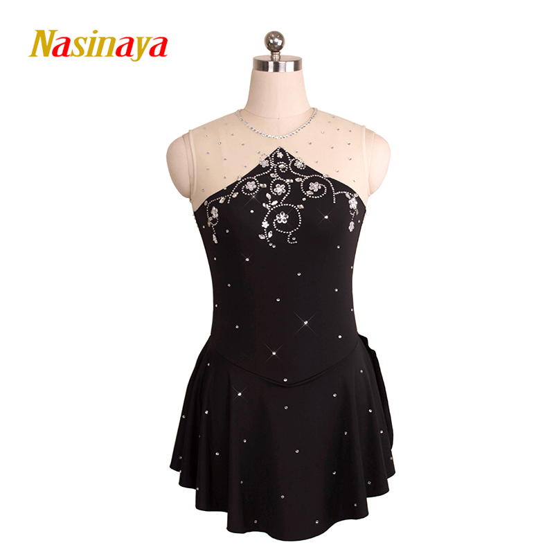 Customized Costume Ice Skating Figure Skating Dress Gymnastics Black Adult Girl Show Competition Skirt Performance Rhinestone vik max adult kids dark blue leather figure skate shoes with aluminium alloy frame and stainless steel ice blade