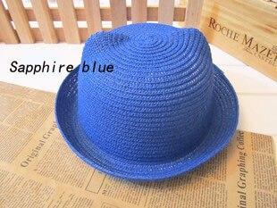 [DINGDNSHOW], модная соломенная шляпа, Летний стиль, для взрослых, украшение в виде ушей, прекрасная соломенная шляпа от солнца, одноцветная широкополая Панама для женщин - Цвет: blue adult
