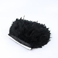 ブラックトルコフェザートリム10ヤード/ロット15-20センチ染め鶏の羽リボントリミング羽縞ストリッ