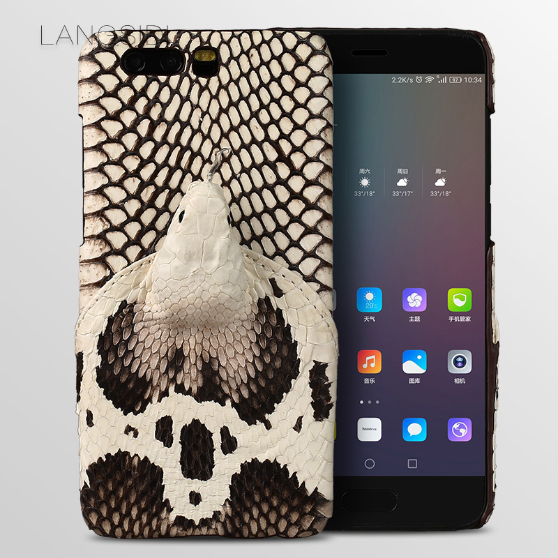 LANGSIDI brand phone case real snake head back cover phone shell For Huawei Honor 9 full manual custom processing