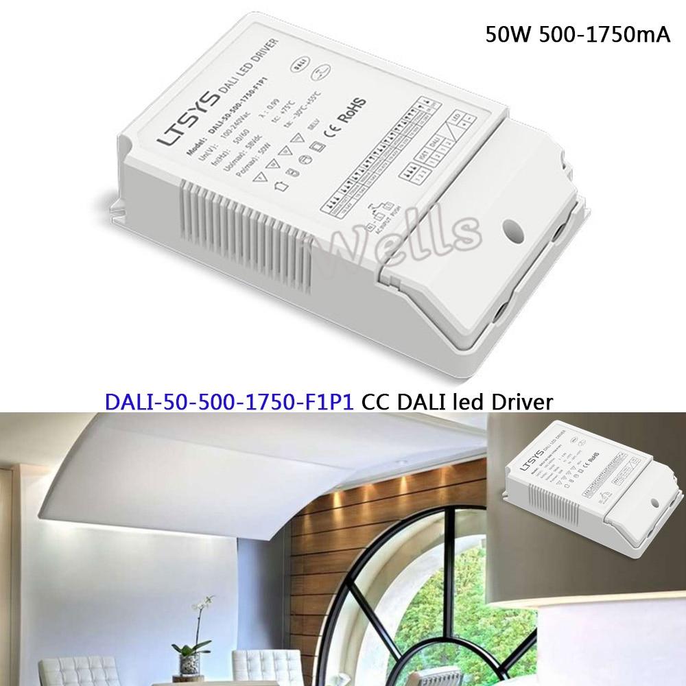 50W 500-1750mA CC DALI Driver;DALI-50-500-1750-F1P1;CC led Dimming Driver;AC100-240V input;Push DIM led power недорго, оригинальная цена