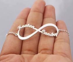 Custom Jewelry Infinity Name Bracelet Femme Men Personalized Stainless Steel Rose Gold Boho Nameplate Pulseras Mujer Moda 2018