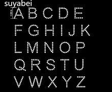 4 adet/grup DIY LOGO İngilizce mektup tasarım taşlar demir on transferi yamalar strass demir sıcak düzeltme yapay elmas transfer tatoo motifleri gömlek