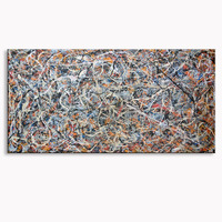 Hand Painted oil painting Dafen artist Liang Canbin created large scale abstract oil painting Size:80x160 inch