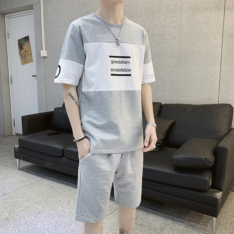 Summer Men Tshirt Set Fashion Printed Short Sleeve T Shirt And Shorts Tracksuit Set Breathable Sportswear Male Clothing