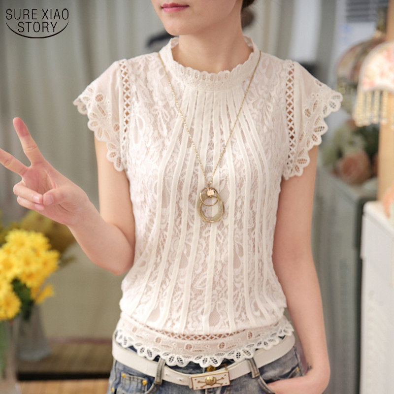 New 2018 Summer Fashion elegan pepejal Blus Wanita Petal Sleeve Lace Chiffon O-leher Plus Saiz Baju Top 01C 35