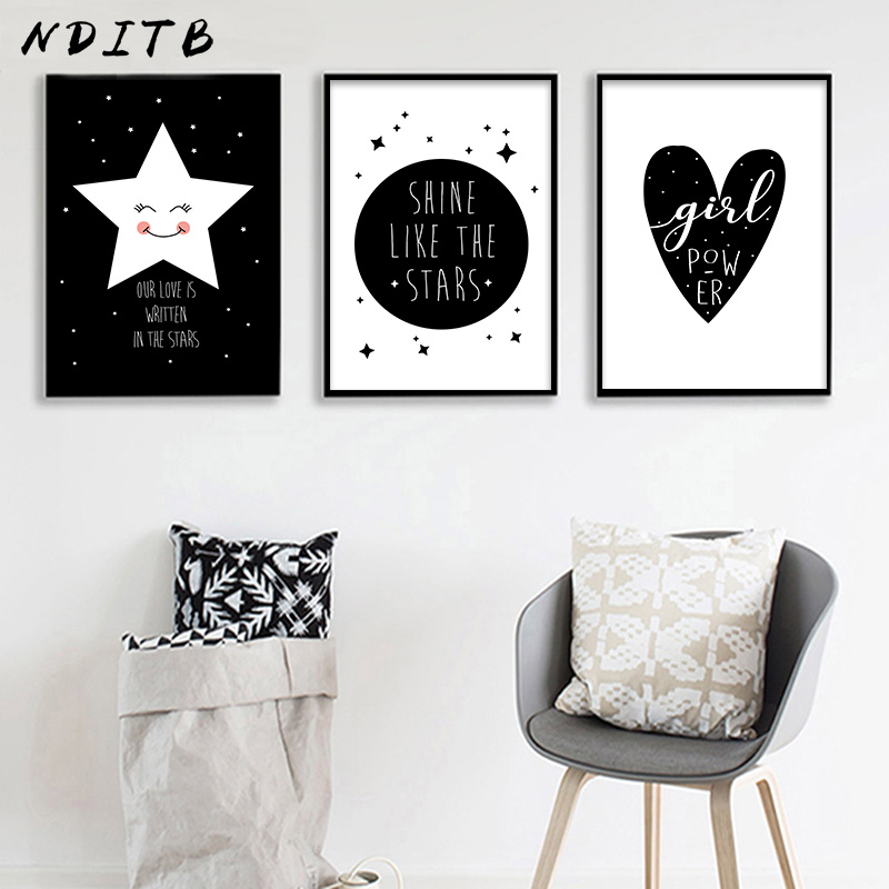 Nditb Black White Nursery Canvas Art Posters And Prints Cartoon Minimalist Painting Nordic Boys S Bedroom Decoration In Calligraphy From Home