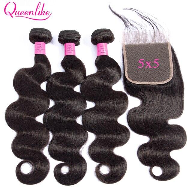 5x5, кружевные застежки пряди, 100% натуральные волосы, вьющиеся волосы Queenlike, 3 4 бразильские волнистые пучки с застежкой