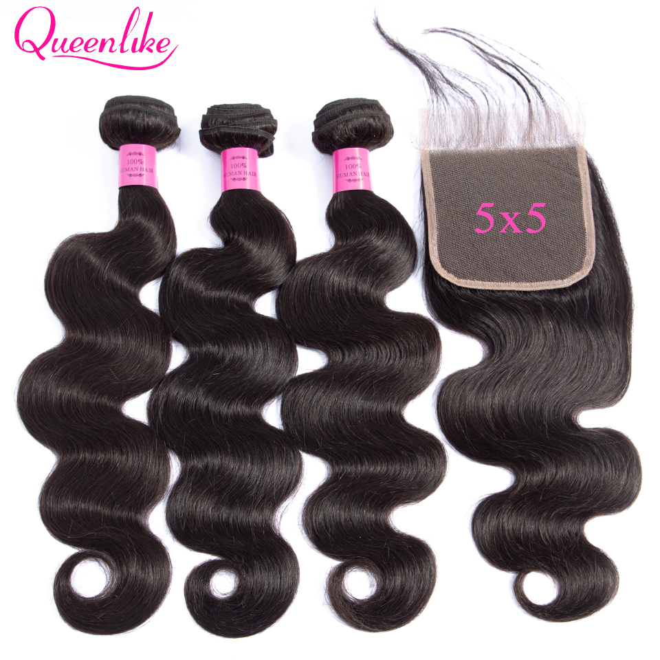 5x5 Lace Closure With Bundles 100% Human Hair Weft Queenlike Non Remy Hair Weaving 3 4 Brazilian Body Wave Bundles With Closure