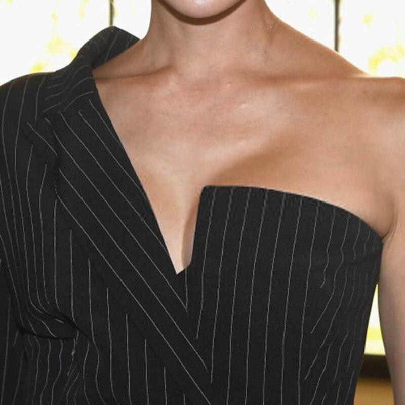 Shengpalae Mode Une Femmes Nouveau Formelle Rayé Épaule Printemps Personnalité Manteau Black Asymétrique Ob162 Poches 2019 Col ORr1TOx